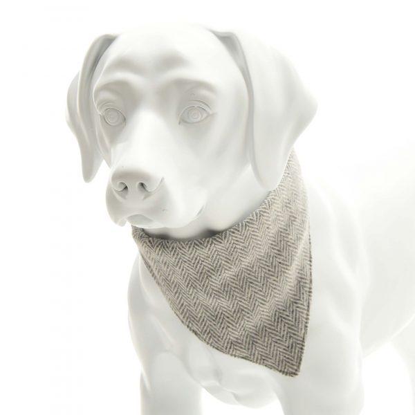Silver Herringbone Tweed Neckerchief Collar
