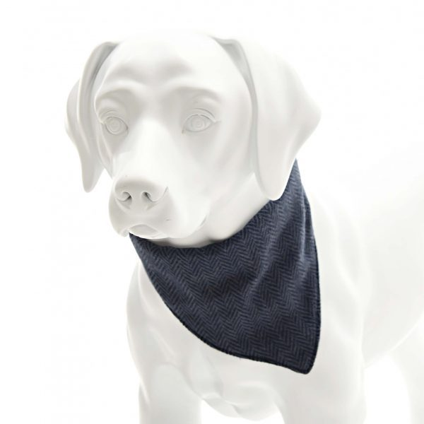 Blue Herringbone Tweed Neckerchief Collar