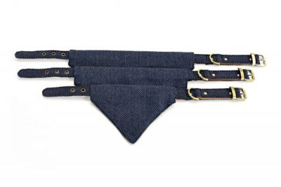 Blue Herringbone Tweed Neckerchief Collar