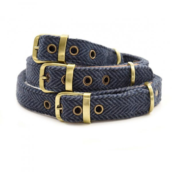 Blue Herringbone Dog Collar