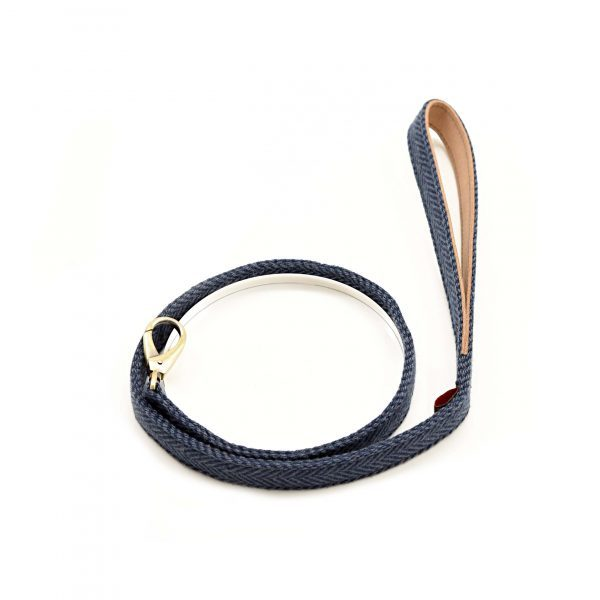 Blue Herringbone Tweed Lead