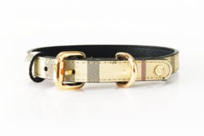 Carnaby designer leather dog collar
