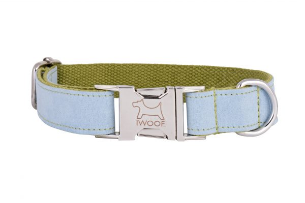 Surf Blue designer dog collar and dog lead by IWOOF