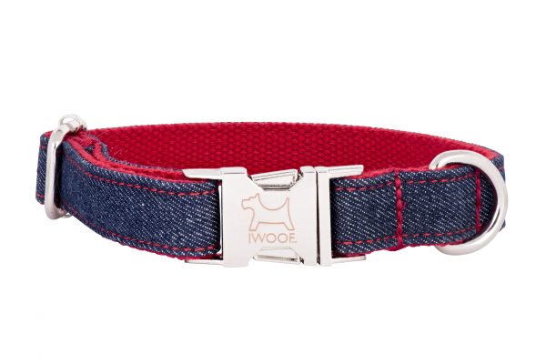 Denim designer dog collar and dog lead by IWOOF