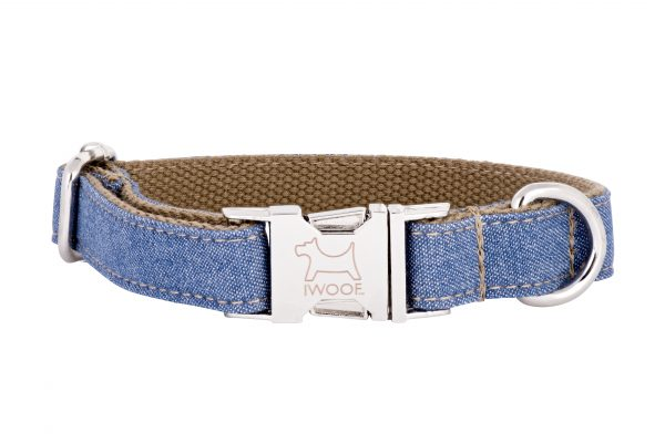 Jean designer dog collar and dog lead by IWOOF