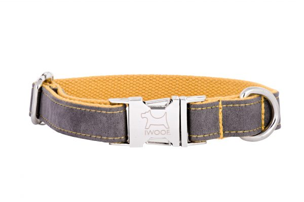 SealGrey designer dog collar and matching dog lead by IWOOF