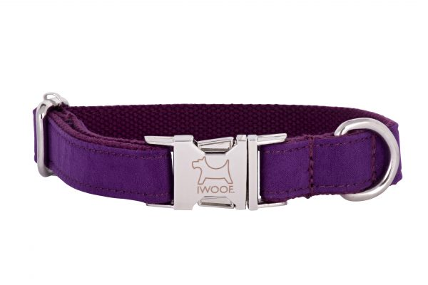 Amethyst designer dog collar and matching designer dog lead by IWOOF
