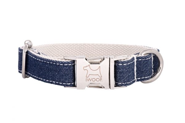 WHITE Jean designer dog collar and dog lead by IWOOF