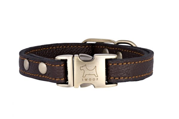 Royal Brown leather designer dog collar and dog lead by IWOOf