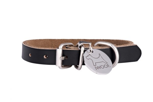 Morwenna designer dog collar and matching designer dog lead in black by IWOOF
