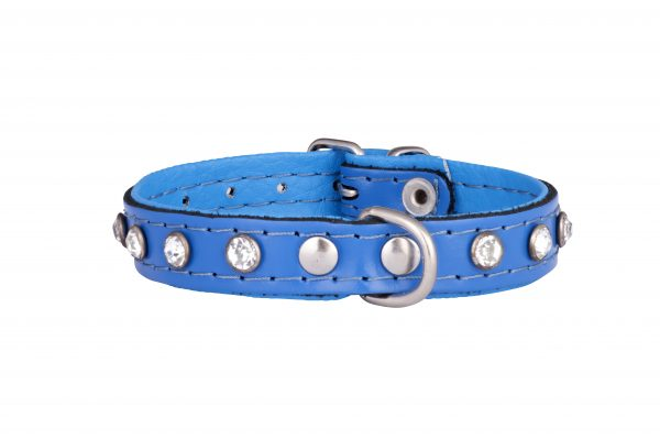 Mini Blue leather designer dog collar and doglead by IWOOF