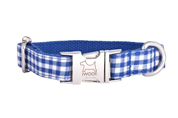 Blue Check designer dog collar and matching designer dog lead set by IWOOF