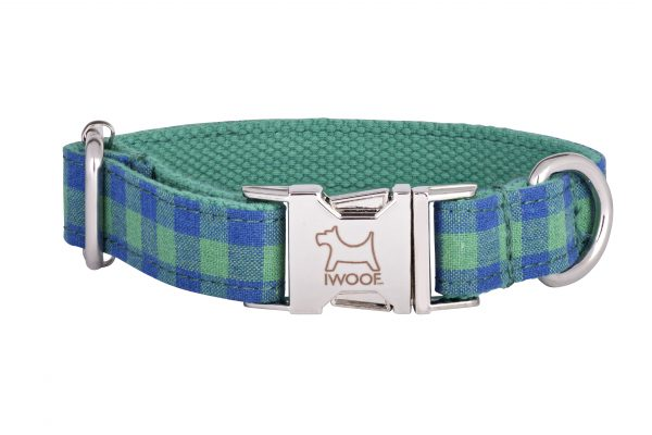 Blue and Green Check designer dog collar and matching designer dog lead by IWOOF