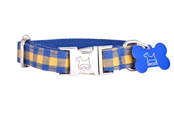 Blue and yellow check designer dog collar and matching designer dog lead by IWOOF