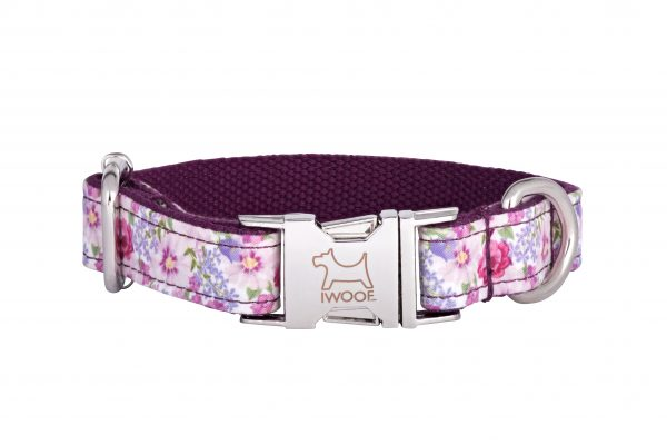 Designer dog collar and designer dog lead in Pink Blossom