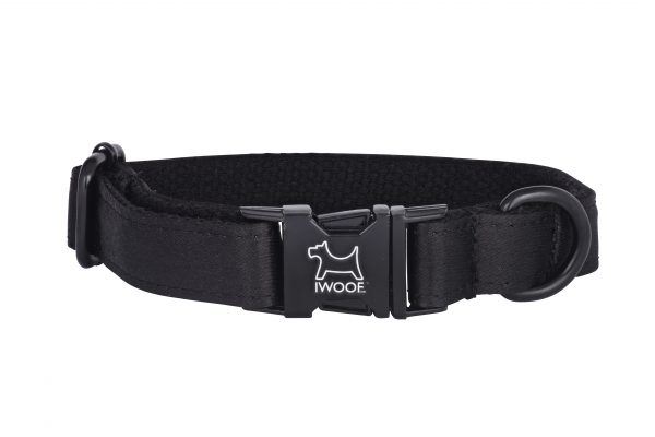 Black on Black designer dog collar and matching designer dog lead by IWOOF
