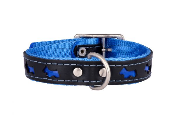 Reflex reflective designer dog collar and matching dog lead by IWOOF