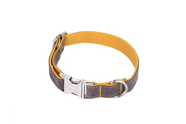 Seal Grey designer dog collar and matching designer dog lead by IWOOF