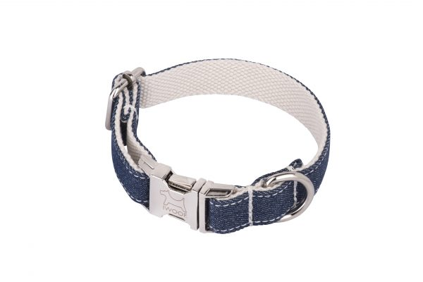White Jean designer dog collar and lead by IWOOF