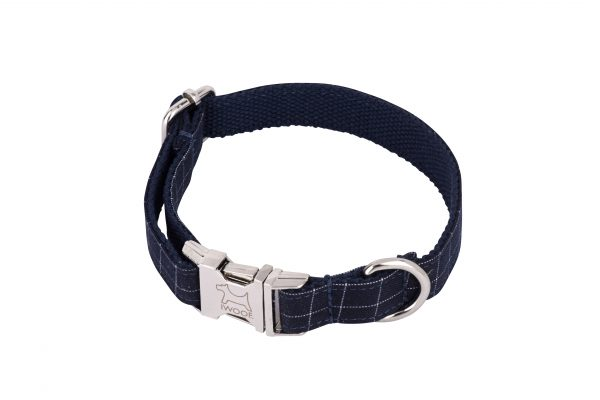 Cornish Navy Check designer dog collar and dog lead by IWOOF