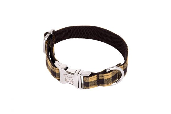 Yellow Check designer dog collar and matching designer dog lead by IWOOF