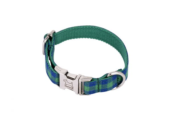 Blue and Green check designer dog collar and dog lead by IWOOF