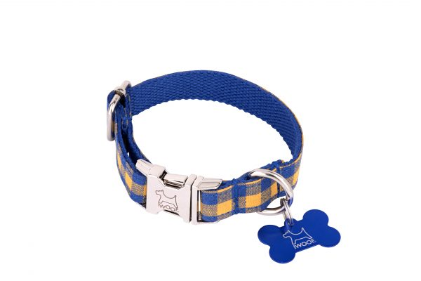 Blue and yellow check designer dog collar and dog lead set from IWOOF