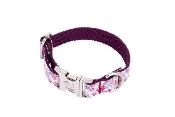 Pink Blossom designer dog collar and matching designer dog lead by IWOOF