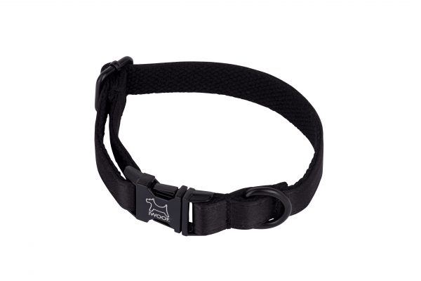 Black on Black designer dog collar and matching designer dog collar by IWOOF