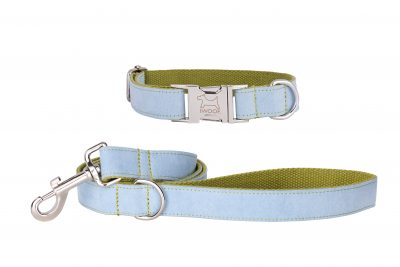 Surf Blue designer dog collar and matching designer dog lead by IWOOF