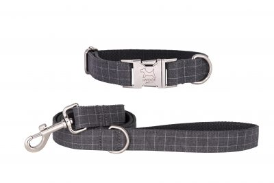 Cornish Grey Check designer dog collar and matching designer dog lead by IWOOF