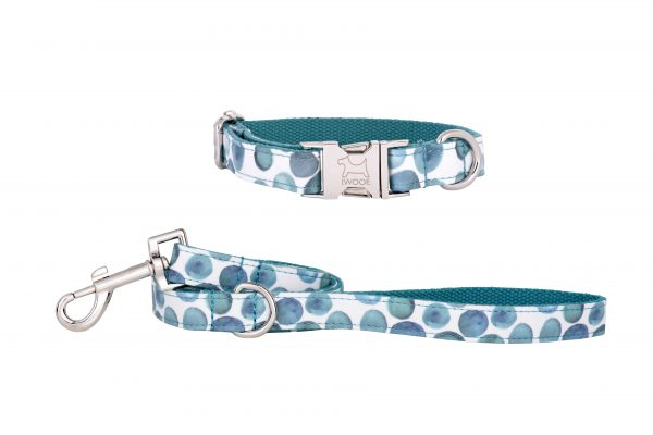 Bubbles designer dog collar and matching designer dog lead by IWOOF