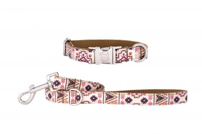Aztec designer dog collar and dog lead set by IWOOF
