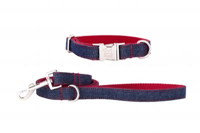 Denim designer dog collar and matching designer dog lead by IWOOF