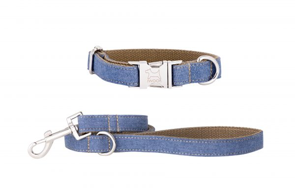 Jean designer dog collar and matching designer dog lead by IWOOF
