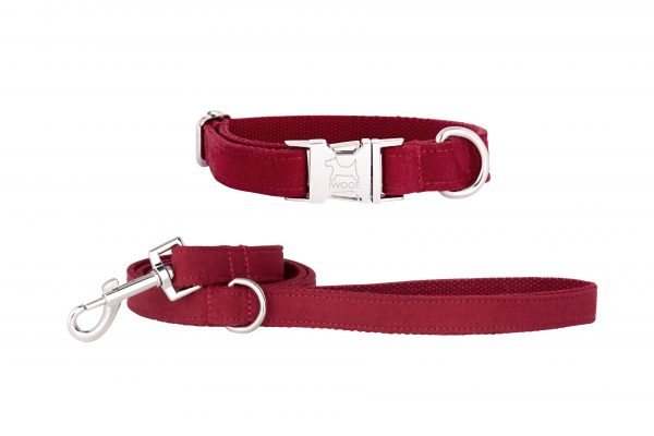 Designer dog collar and dog lead set in Plum