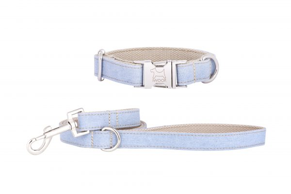 Sea Mist designer dog collar and matching designer dog lead by IWOOF