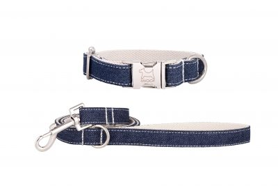 White Jean designer dog collar and matching designer dog lead by IWOOF