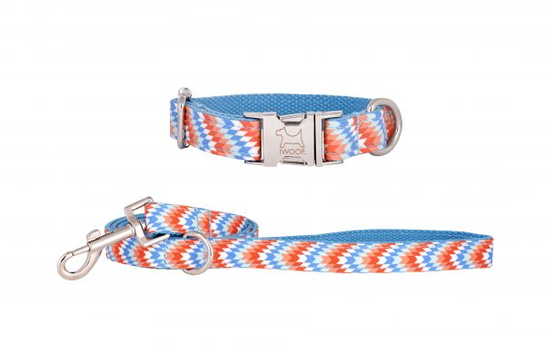 Static designer dog collar and matching designer dog lead by IWOOF