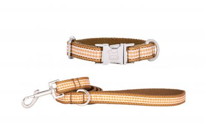 Orange Tart designer dog collar and matching designer dog lead by IWOOF