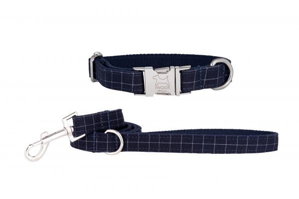 Cornish Navy Check designer dog collar and designer dog lead by IWOOF