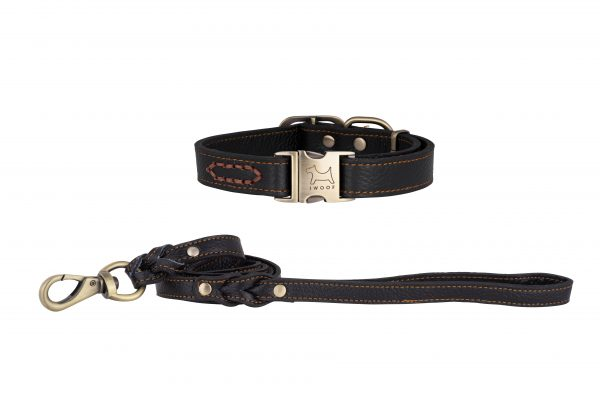 Royal Black designer leather dog collar and matching leather designer dog lead by IWOOF