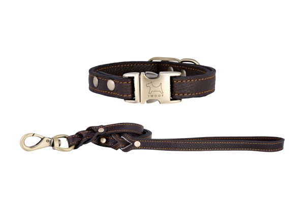 Royal Brown designer leather dog collar and matching leather dog lead by IWOOF