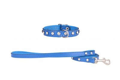 Mini Blue leather designer dog collar and matching designer dog lead by IWOOF