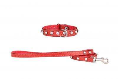 Mini Red leather designer dog collar and dog lead by IWOOF