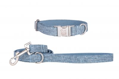 Sky designer dog collar and matching designer dog lead by IWOOF