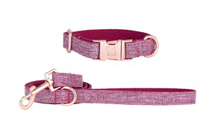 Dog Rose designer dog collar and dog lead with Rose Gold fittings by IWOOF