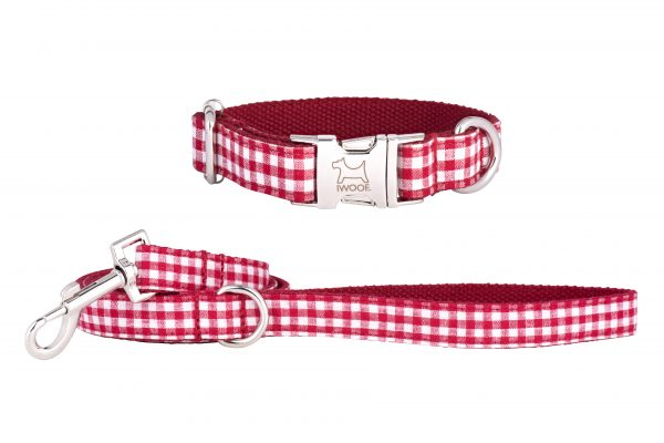 Red Check designer dog collar and matching designer dog lead by IWOOF