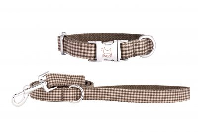 Dog Tooth designer dog collar and matching designer dog lead by IWOOF