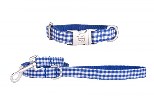 Blue Check designer dog collar and matching designer dog lead by IWOOF